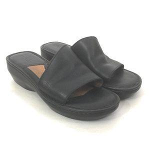 Born Black Leather Asymmetrical Wedge Sandals 8